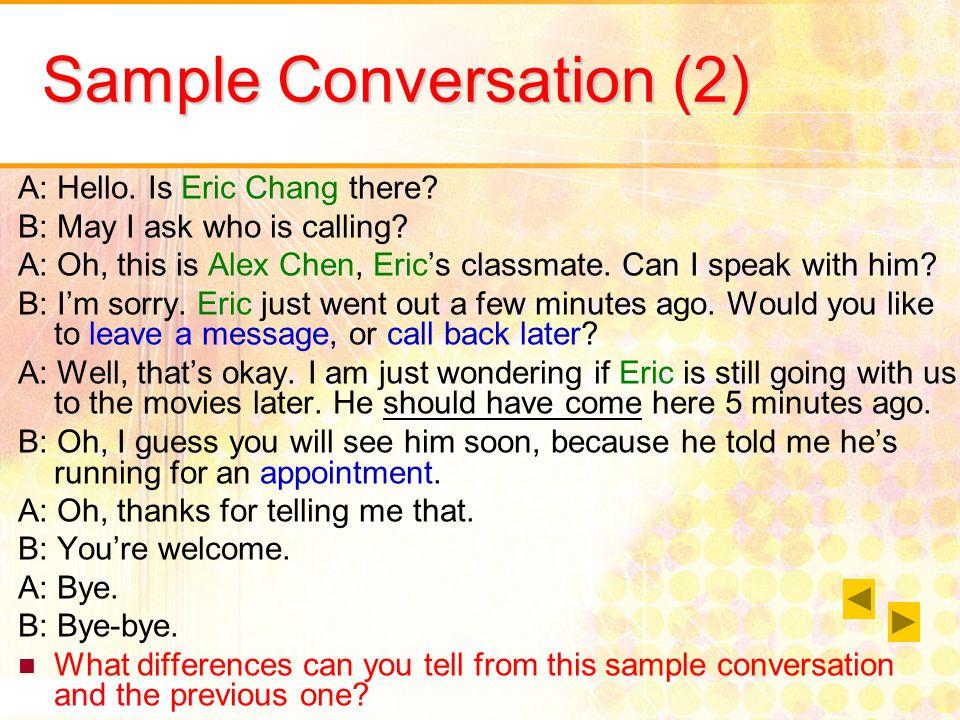 Sample telephone conversation dialogue