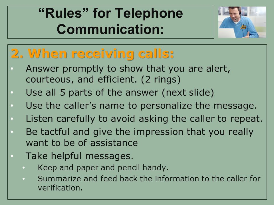 Rules for Telephone Communication: