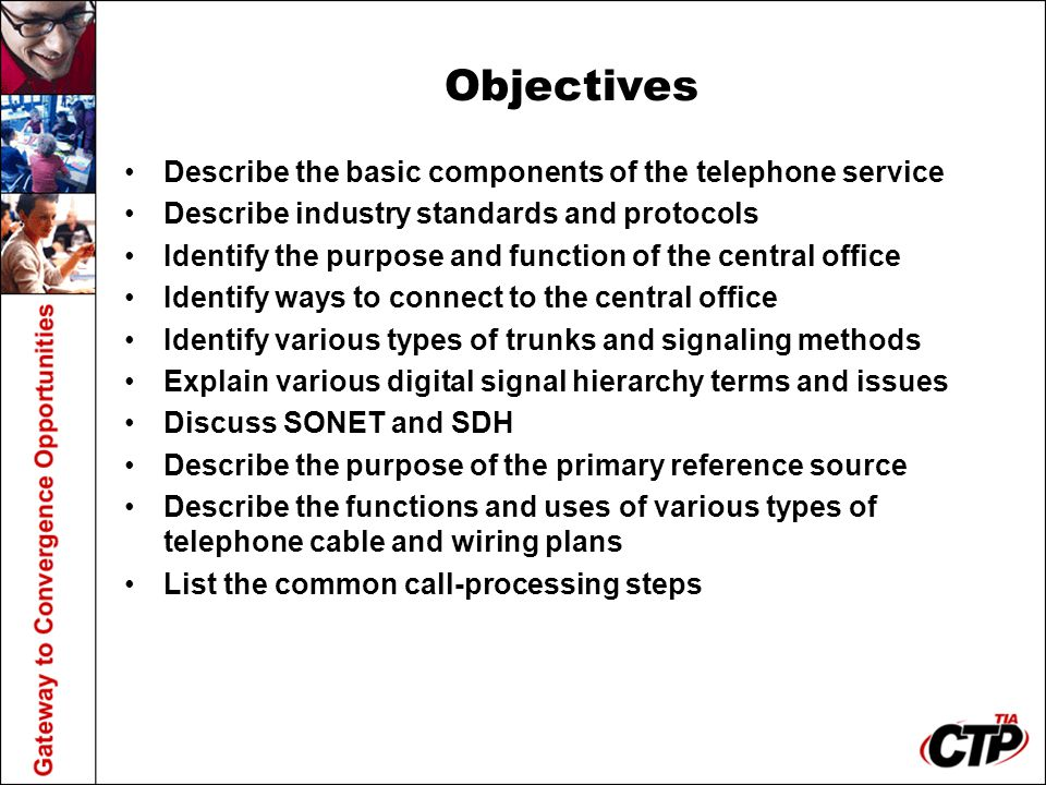 Objectives Describe the basic components of the telephone service
