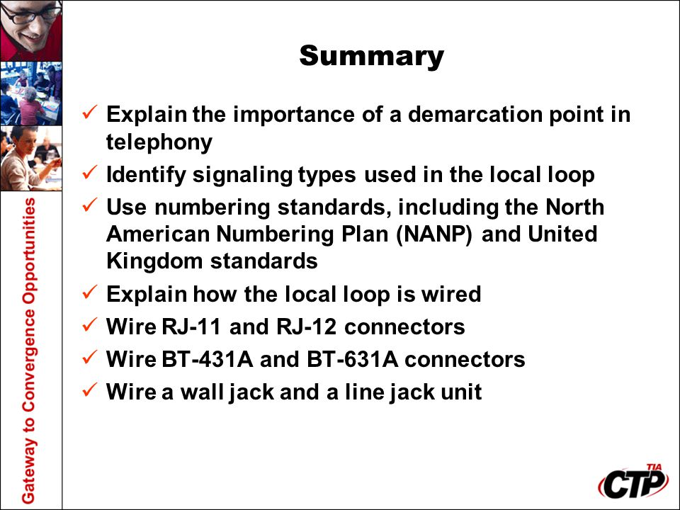 Summary Explain the importance of a demarcation point in telephony