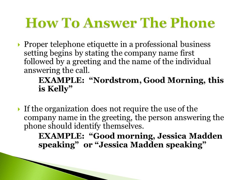 Telephone etiquette ppt video online download how to answer the phone m4hsunfo