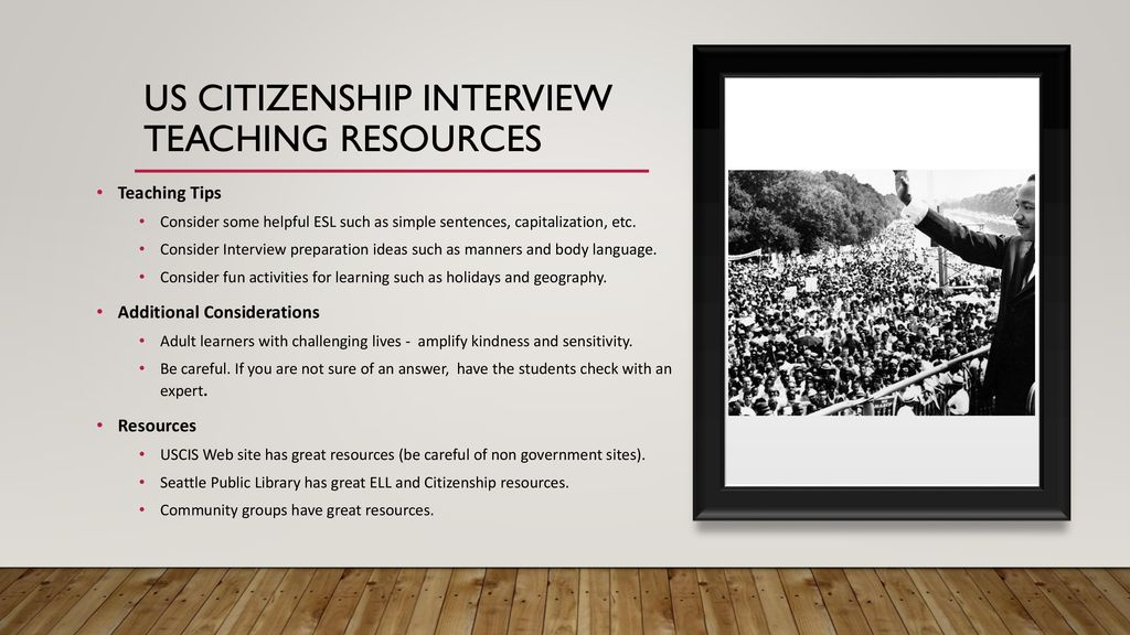 the US citizenship Interview: Learning, Teaching, studying - ppt