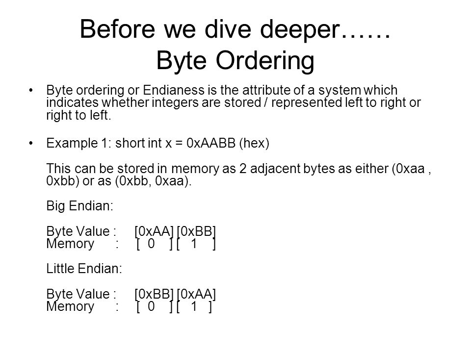 Before we dive deeper…… Byte Ordering