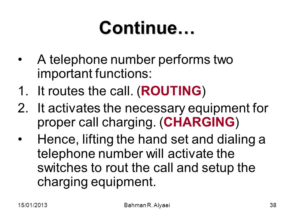 Continue… A telephone number performs two important functions: