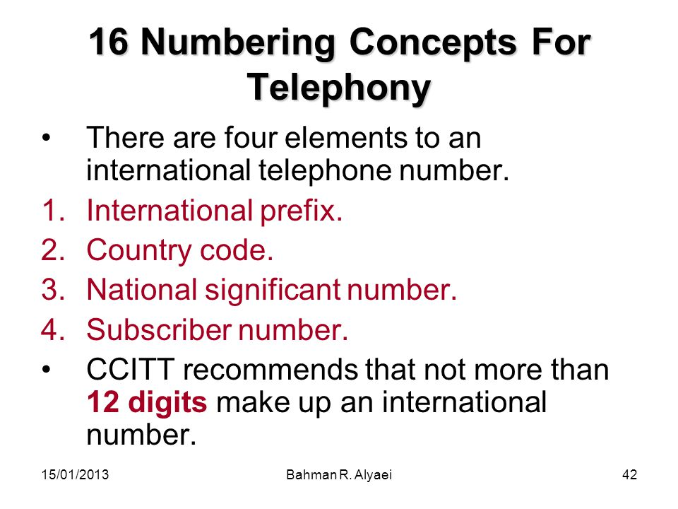 16 Numbering Concepts For Telephony