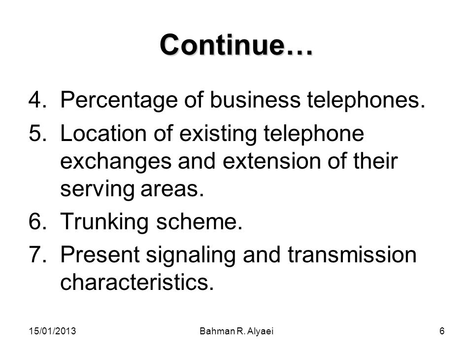 Continue… Percentage of business telephones.