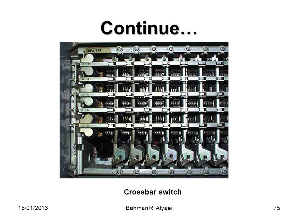 Continue… Crossbar switch 15/01/2013 Bahman R. Alyaei