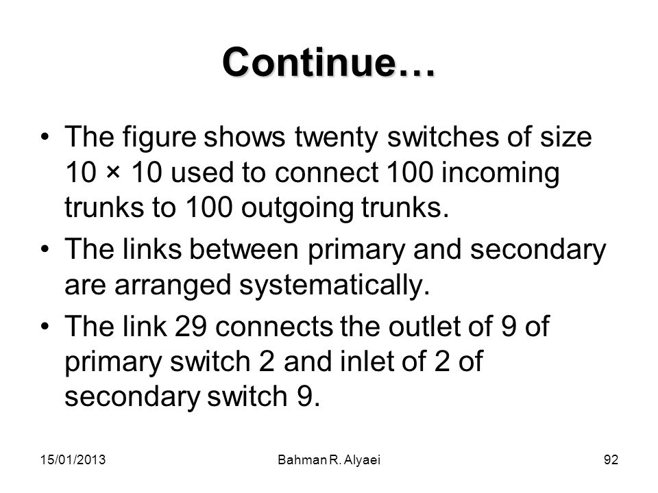 Continue… The figure shows twenty switches of size 10 × 10 used to connect 100 incoming trunks to 100 outgoing trunks.