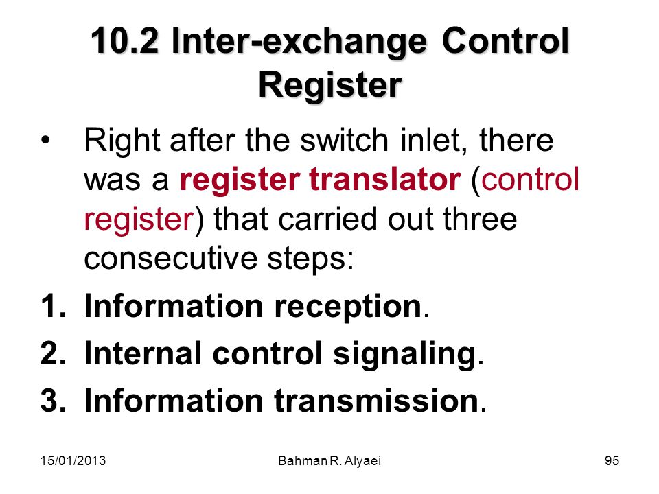 10.2 Inter-exchange Control Register