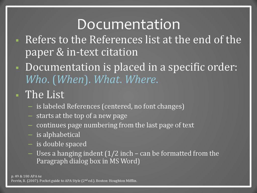 10 Documentation ...