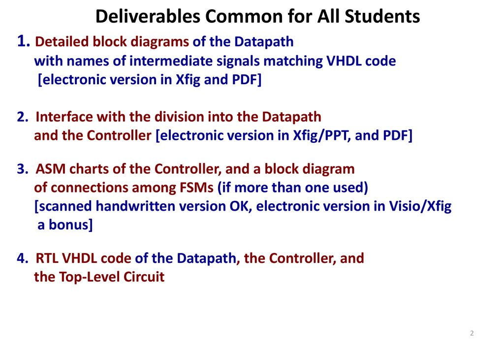 Project Deliverables ECE 545 – Introduction to VHDL  - ppt download