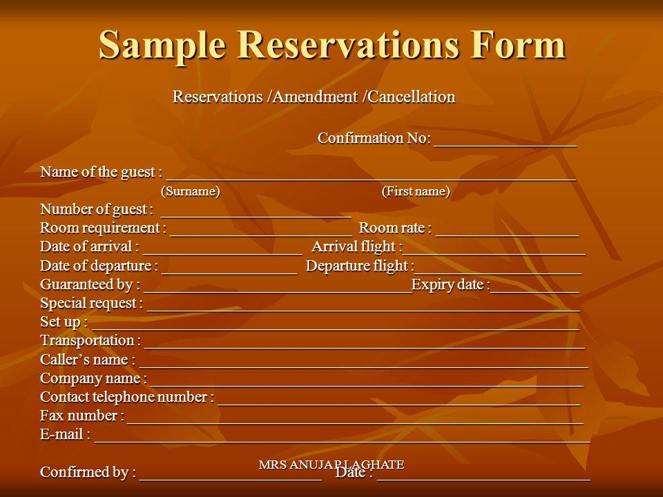 Front office operations reservations ppt video online download sample reservations form altavistaventures Image collections