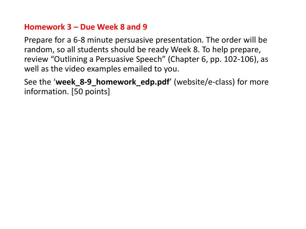 Week 5 schedule Final review presentations - ppt download