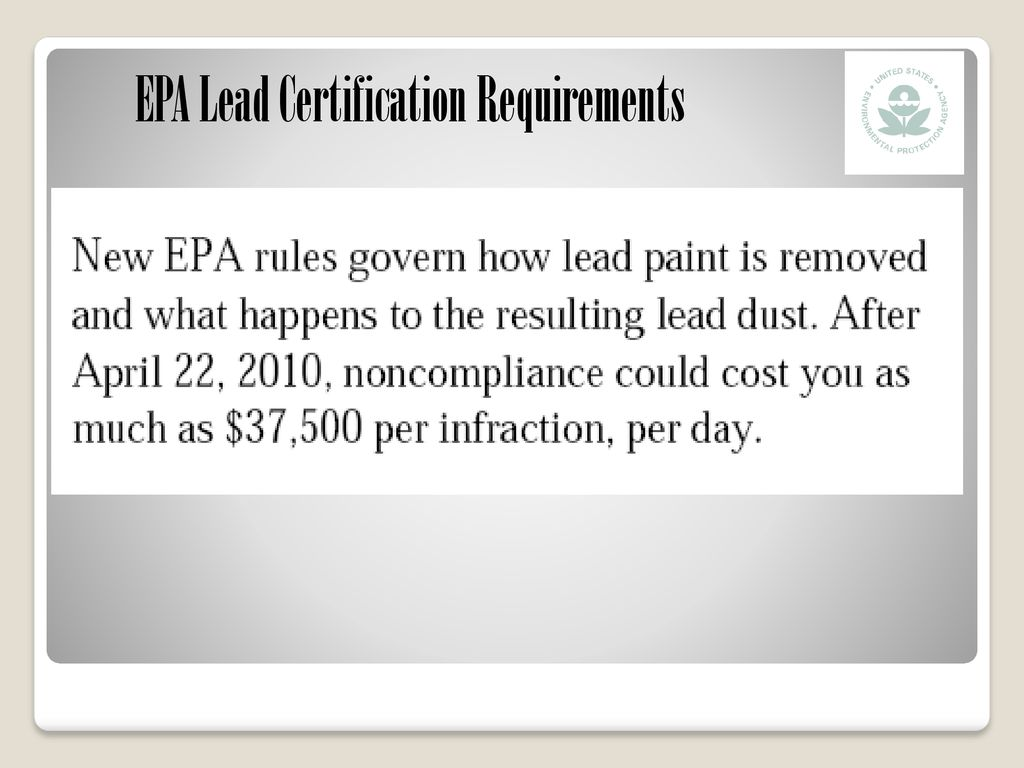 Epa Lead Certification Requirements Ppt Download
