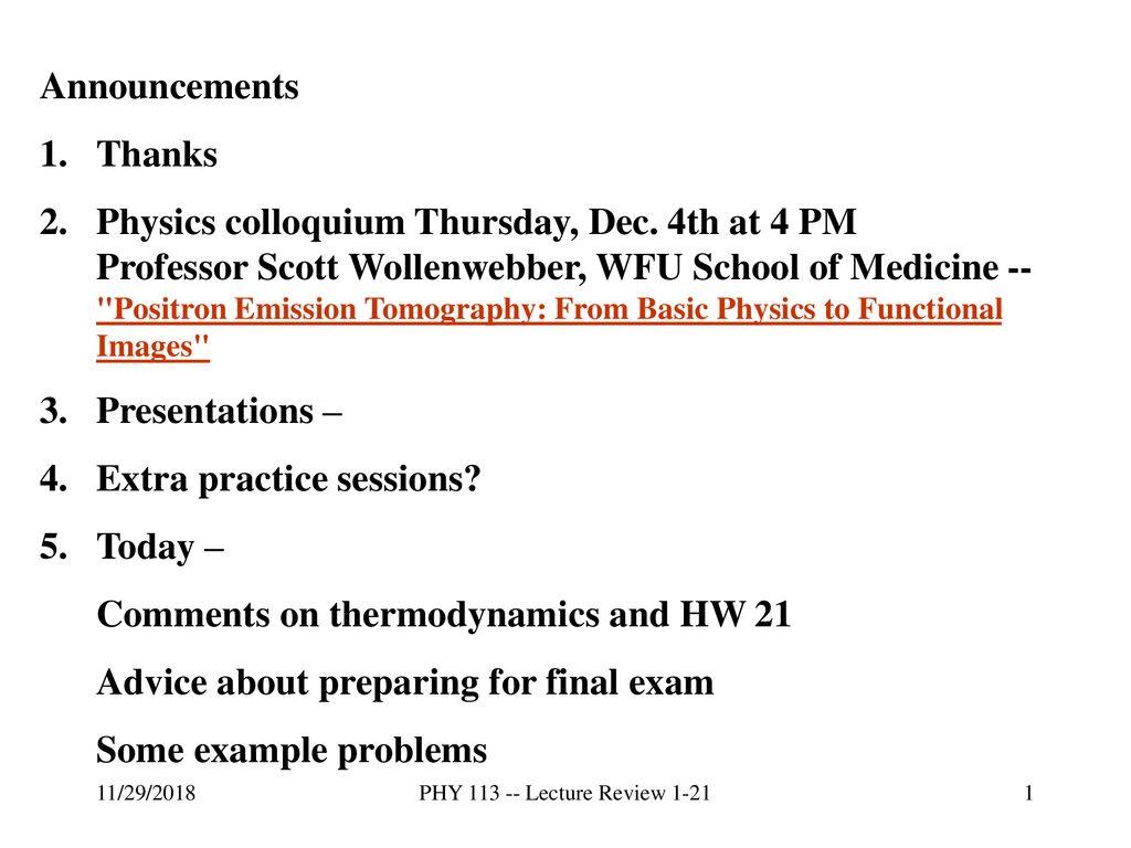 Physics colloquium Thursday, Dec  4th at 4 PM - ppt download