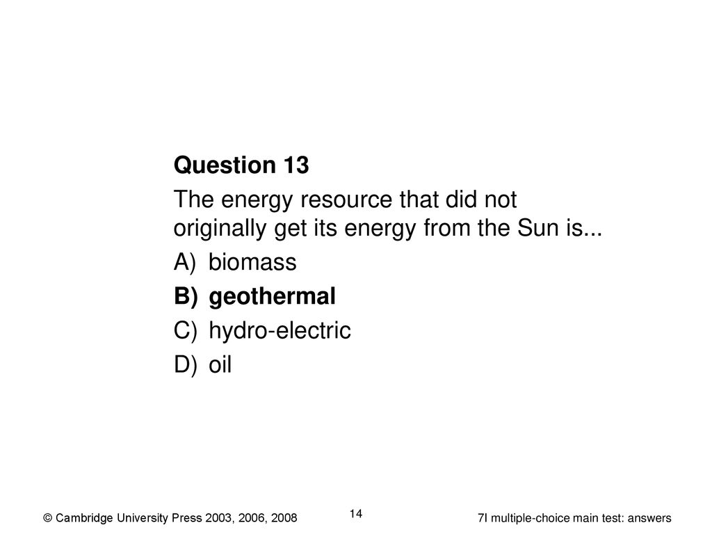 Year 7 multiple-choice main test: answers 7I Energy resources - ppt