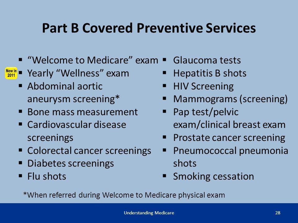 understanding medicare ppt download rh slideplayer com Wellness and Preventive Services Medicare Preventive Services Quick Guide