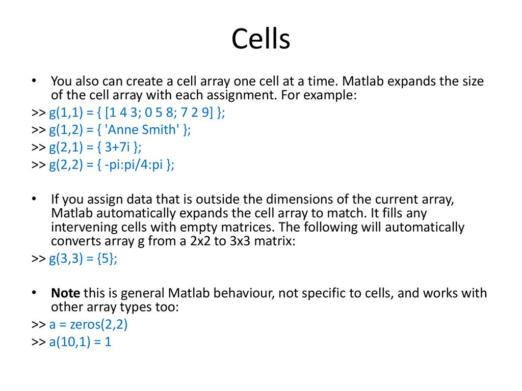 Beaches] Matlab define size of cell array
