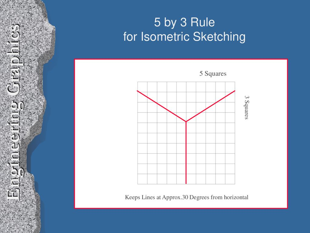 Engineering Graphics Isometric Axes height 30 degrees width depth