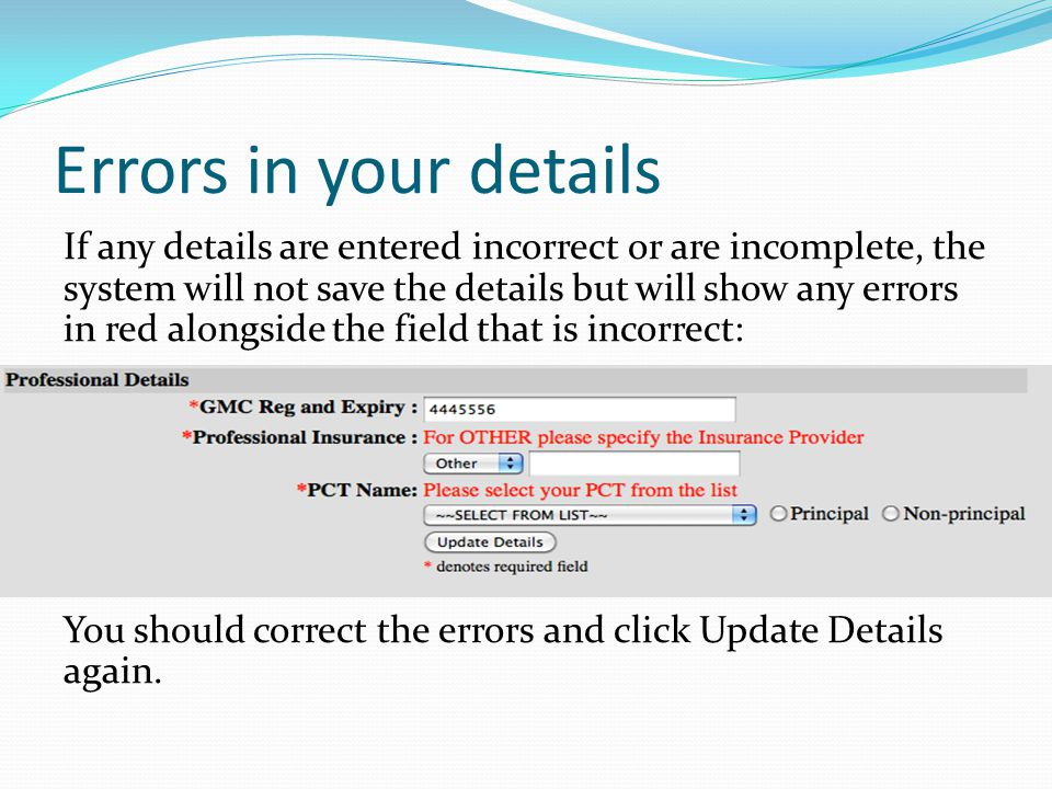 Errors in your details