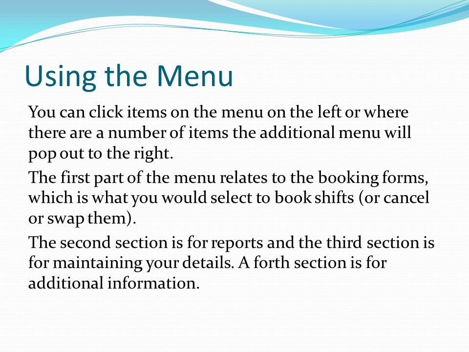 Using the Menu