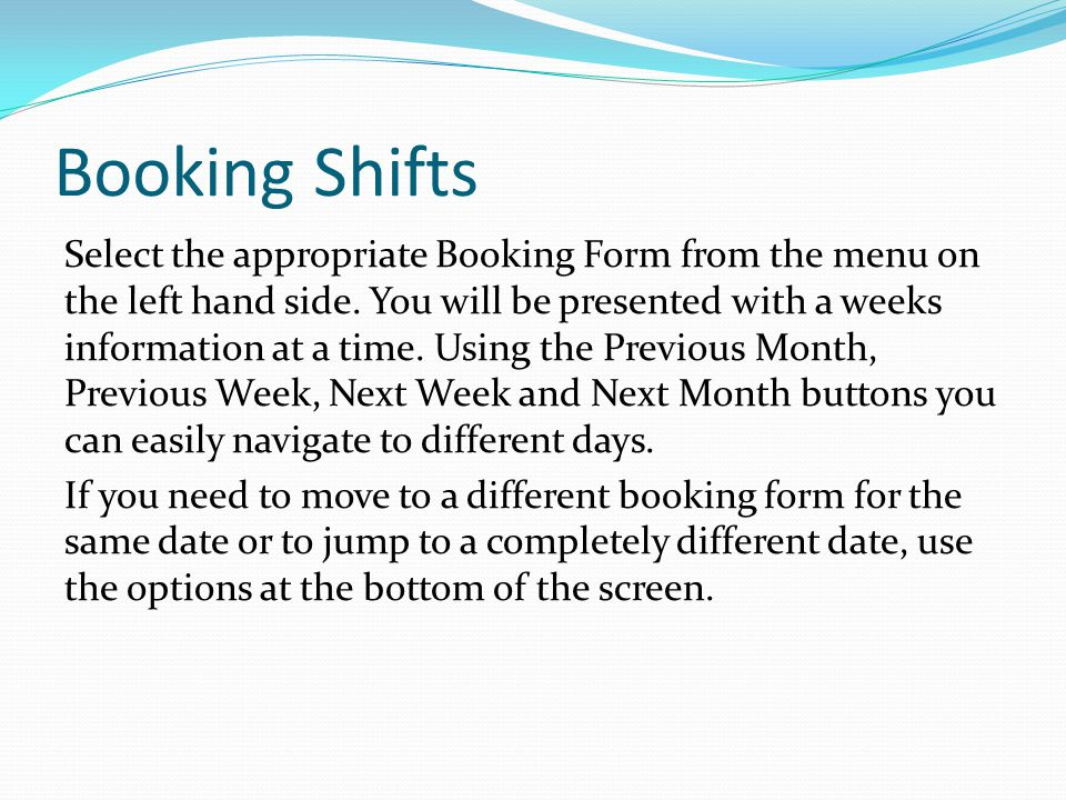 Booking Shifts
