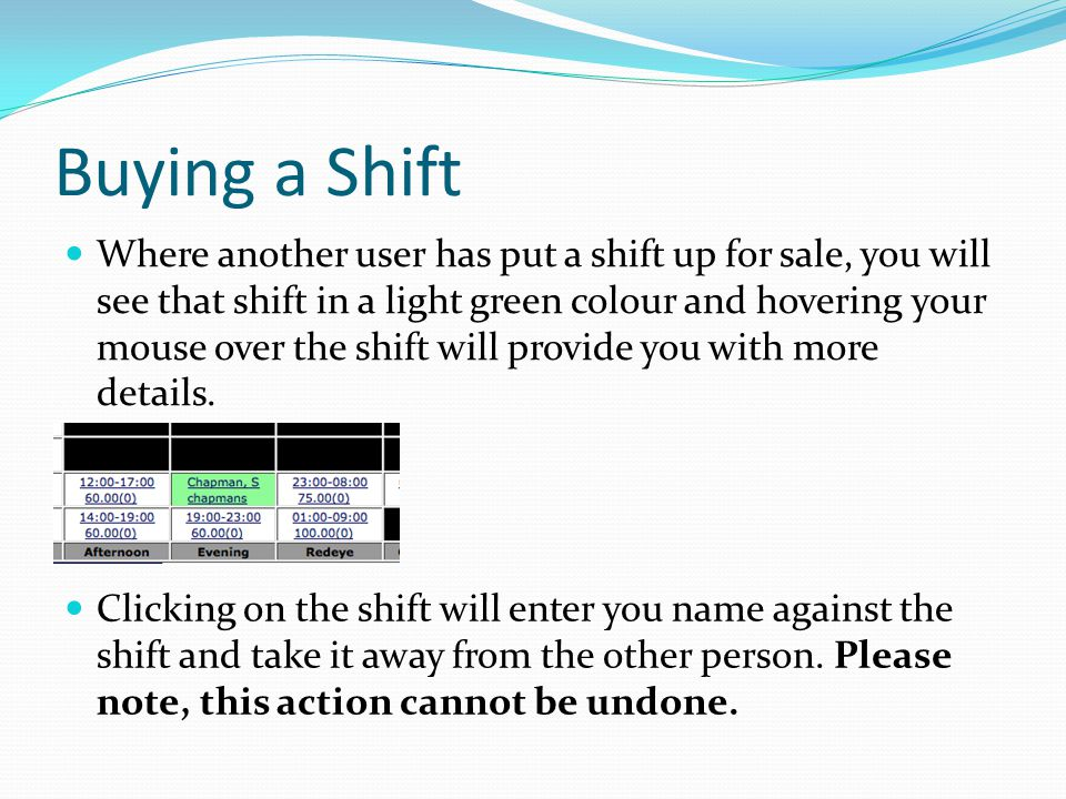 Buying a Shift