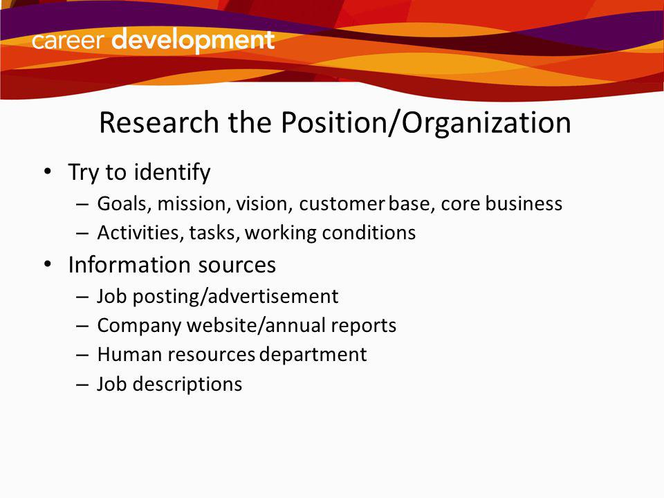 Research the Position/Organization