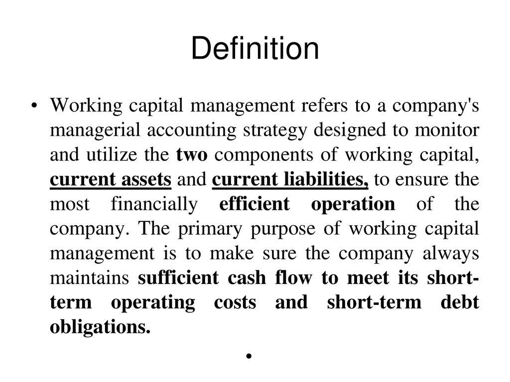 working capital management - ppt download