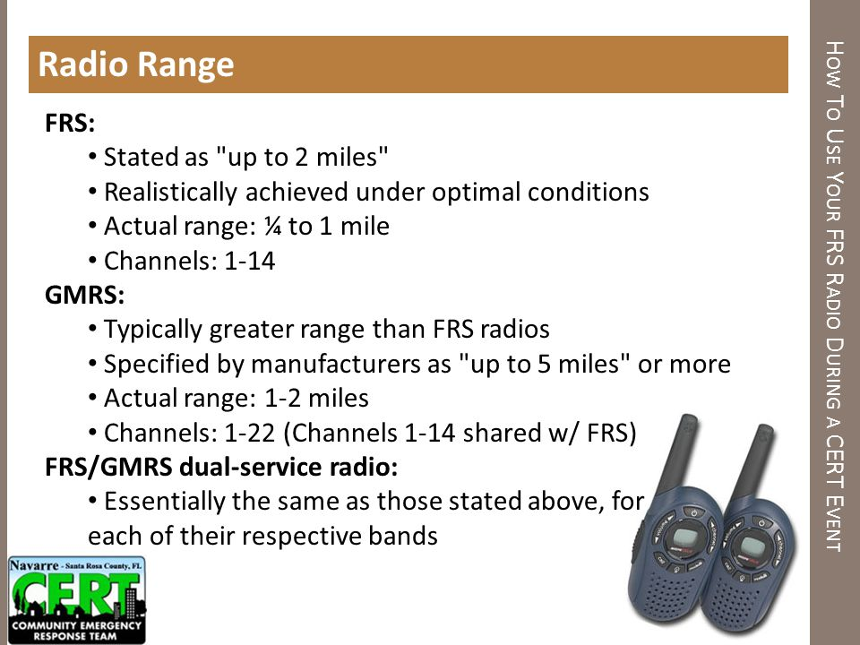 How to use your FRS Radio DURING A CERT EVENT - ppt download