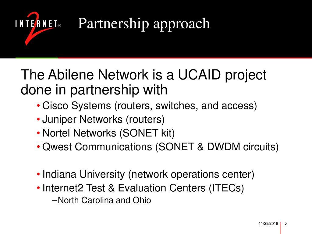 Internet2 Abilene Network and Next Generation Optical