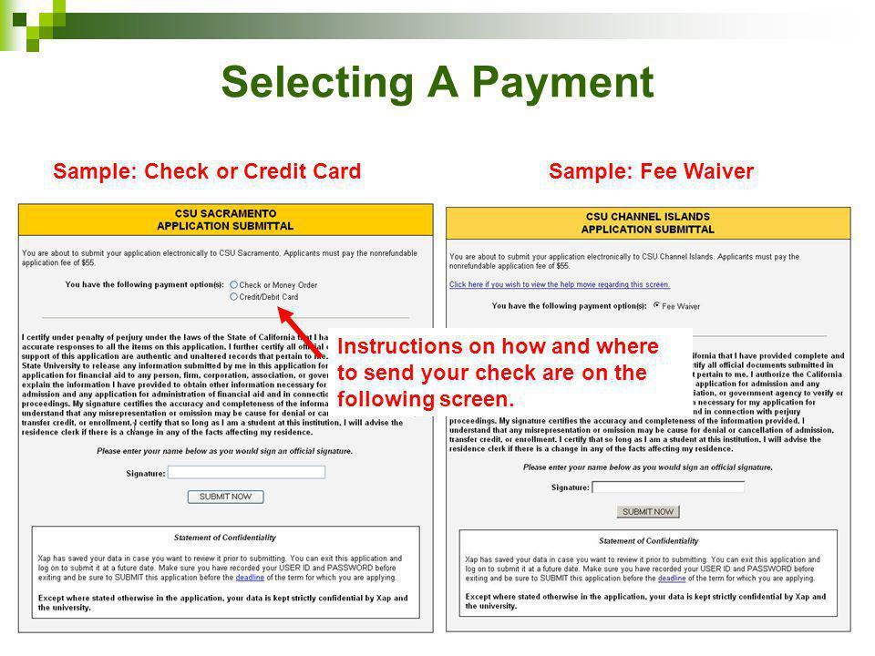 How to complete the csumentor undergraduate online application ppt selecting a payment sample check or credit card sample fee waiver altavistaventures Image collections