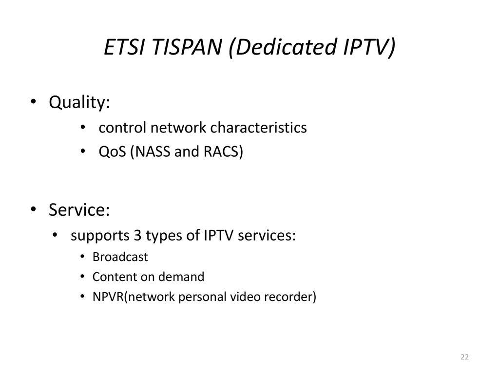 An Overview of IPTV Standards Development - ppt download