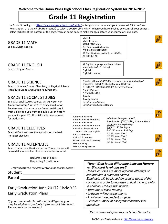 Grade 11 Registration GRADE 11 MATH GRADE 11 ENGLISH GRADE