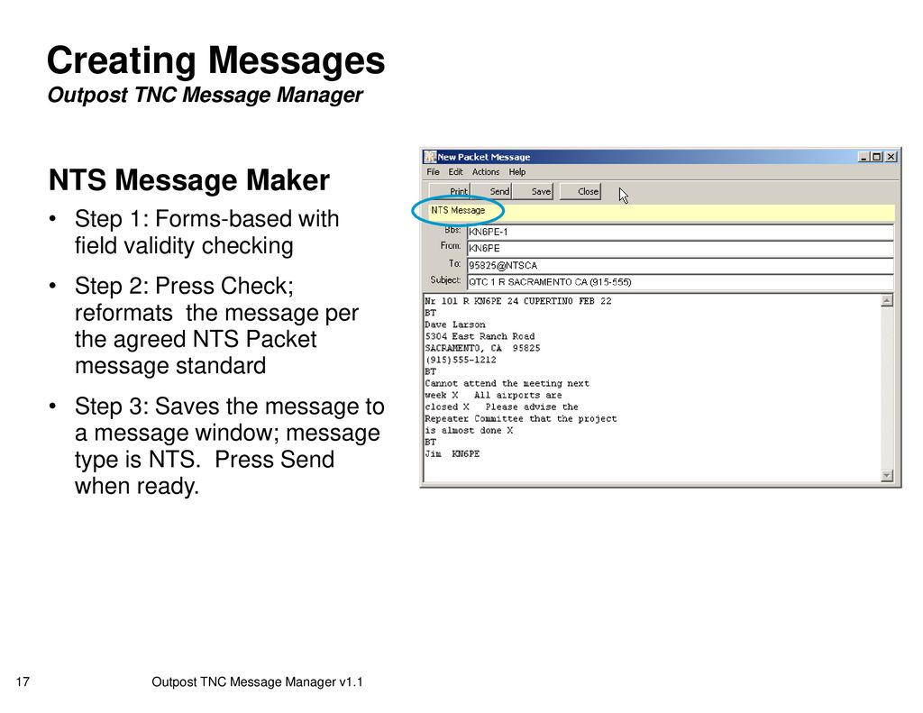 Outpost TNC Message Manager Version ppt download