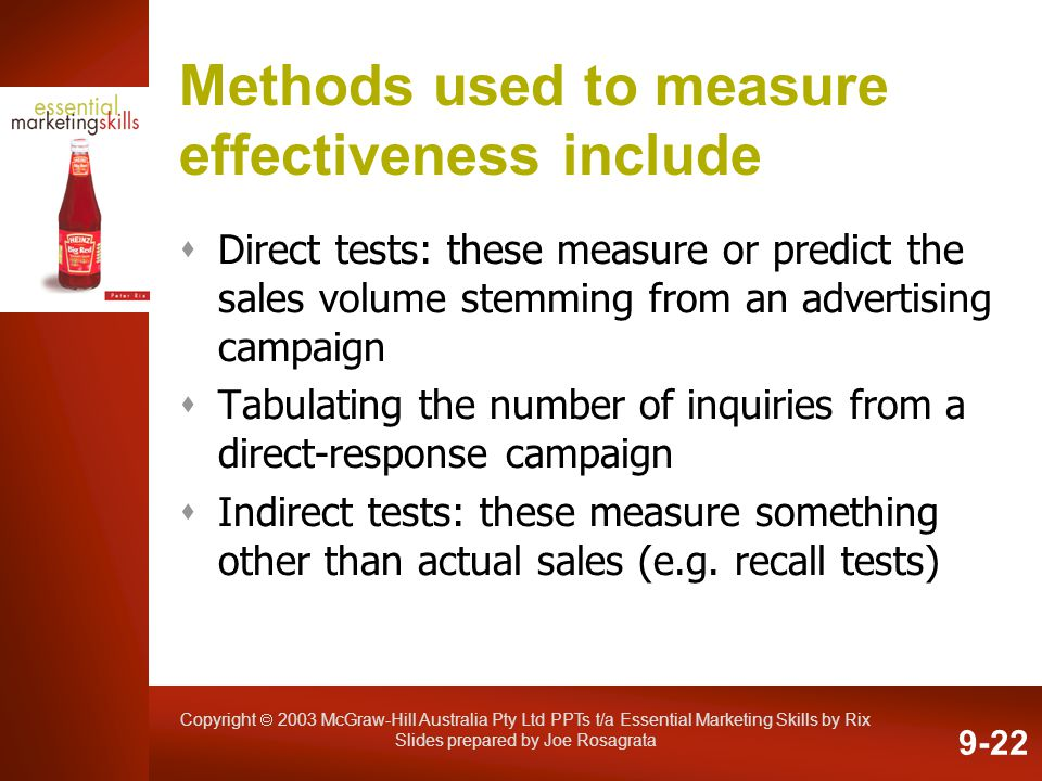 Methods used to measure effectiveness include