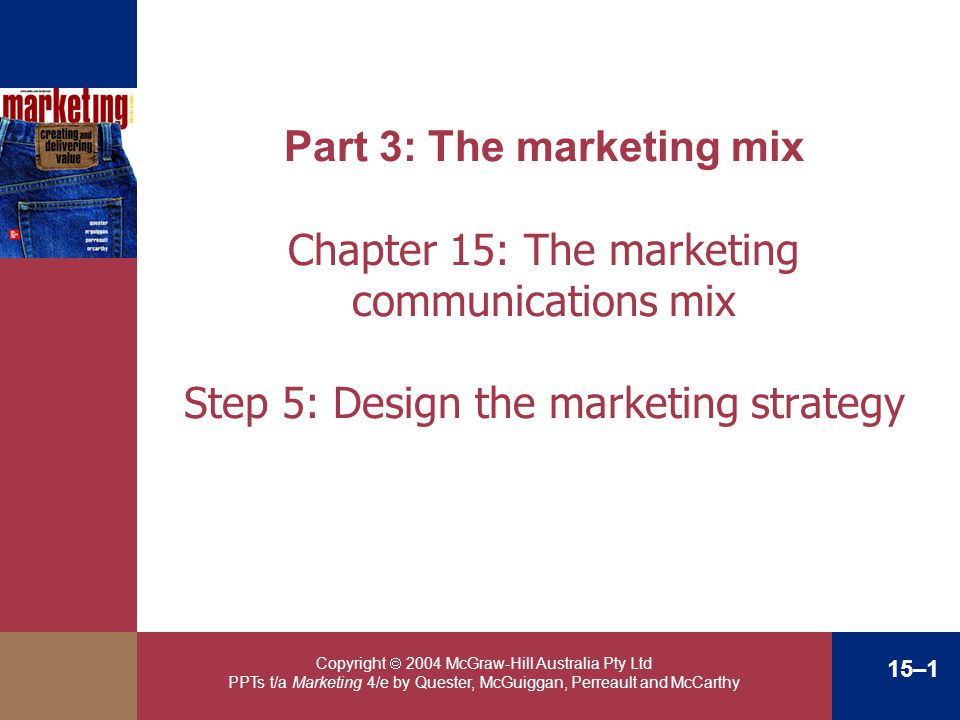 Part 3: The marketing mix Chapter 15: The marketing communications mix Step 5: Design the marketing strategy