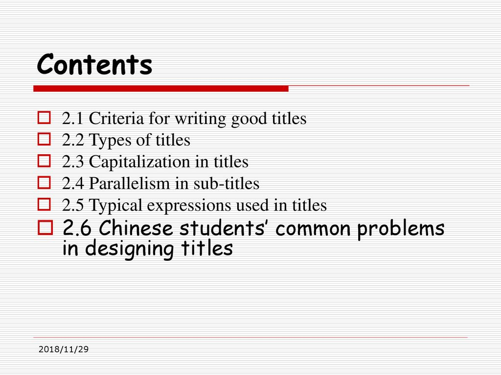 titles for students