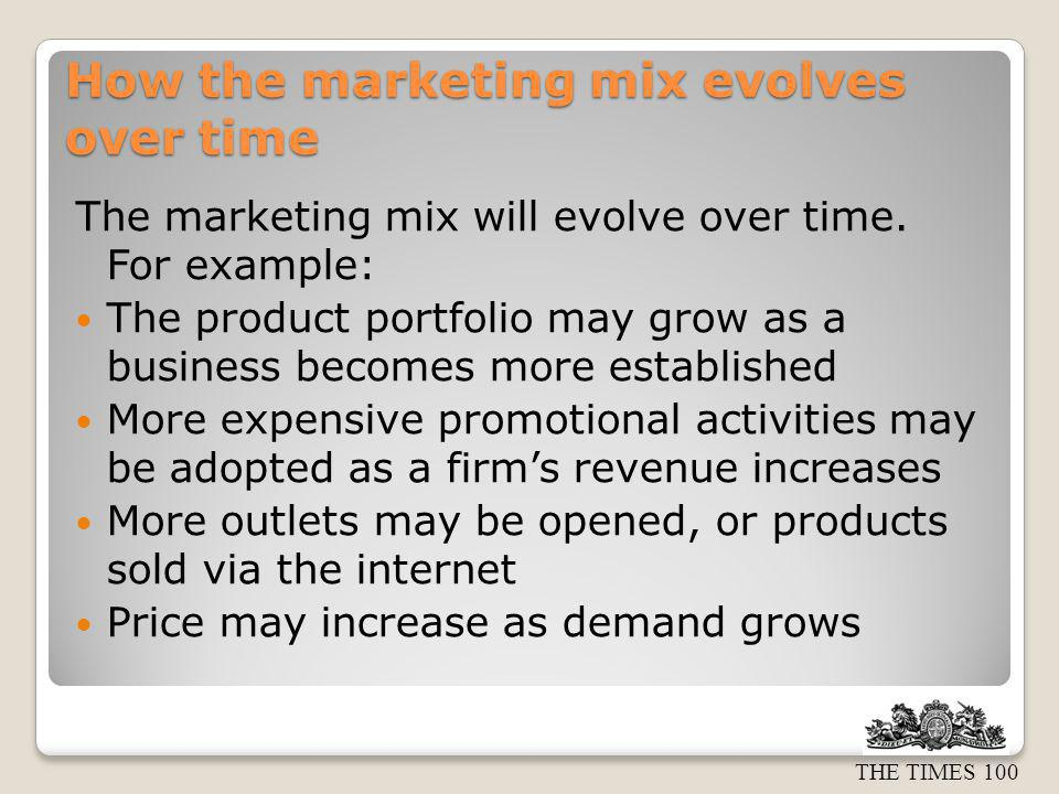 How the marketing mix evolves over time