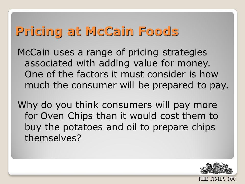 Pricing at McCain Foods