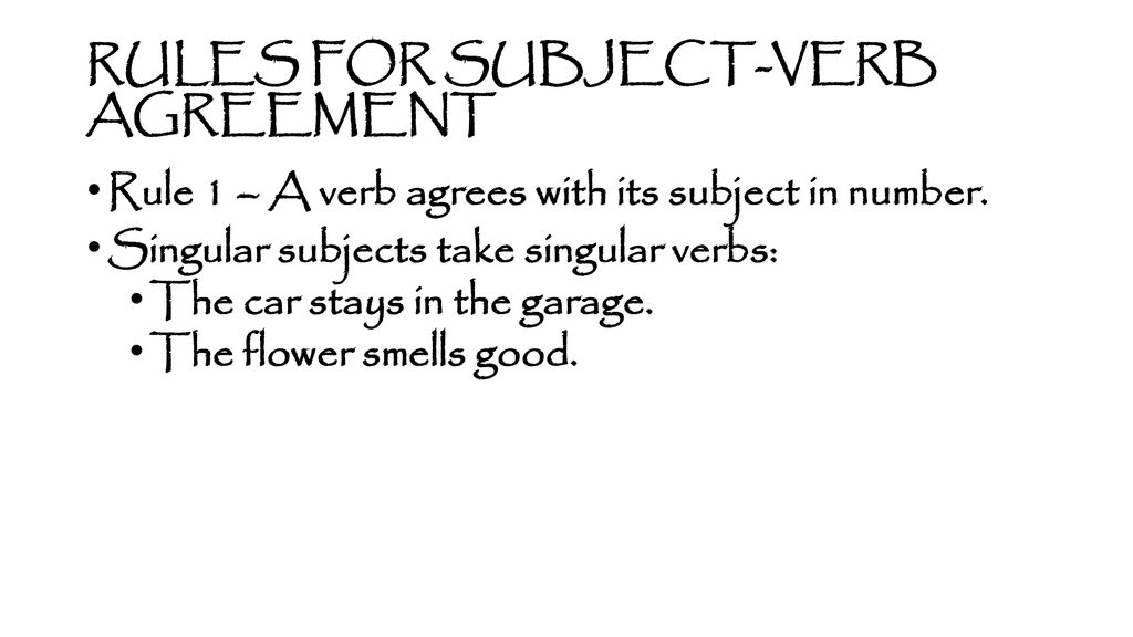 23 rules of subject verb agreement