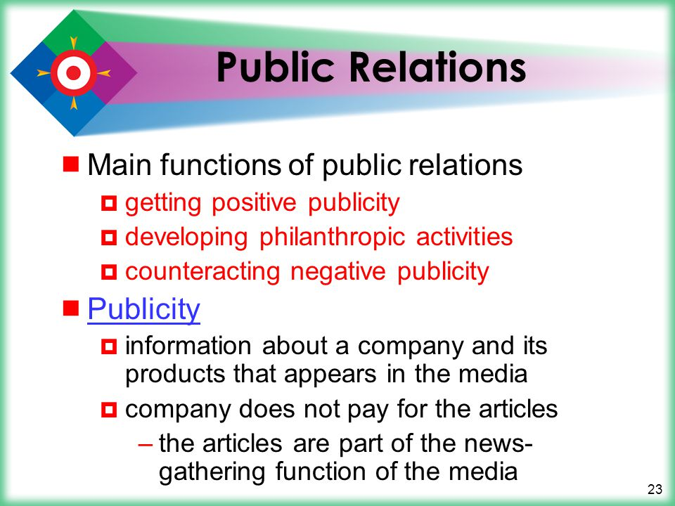 Public Relations Main functions of public relations Publicity