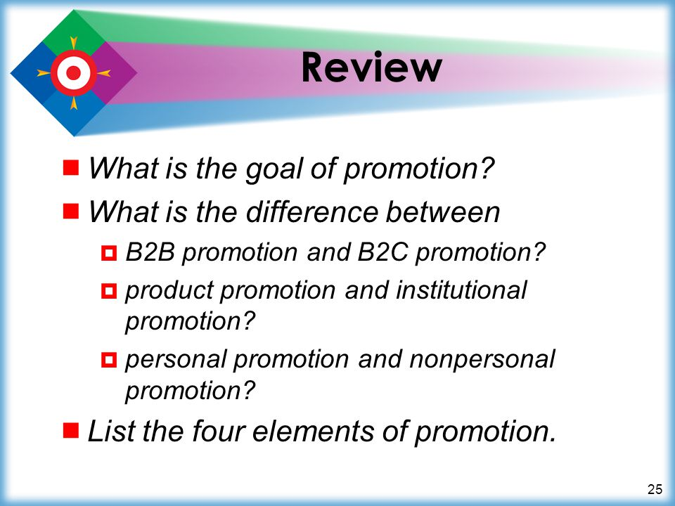 Review What is the goal of promotion What is the difference between