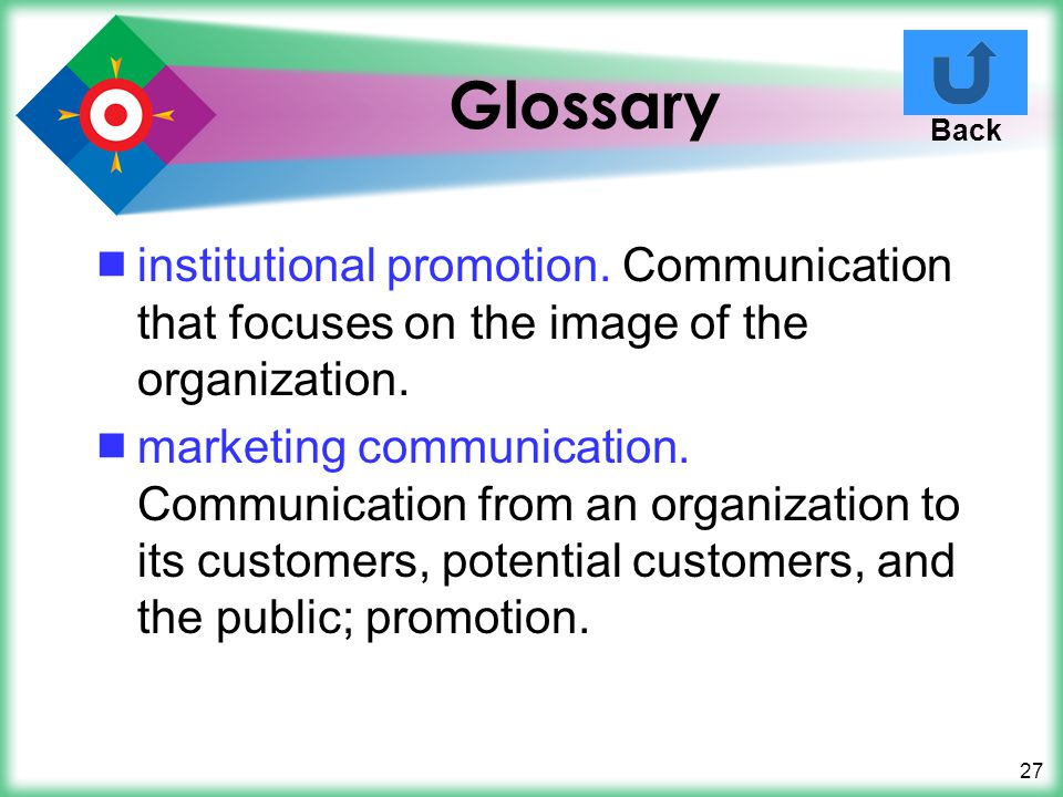 Glossary Back. institutional promotion. Communication that focuses on the image of the organization.