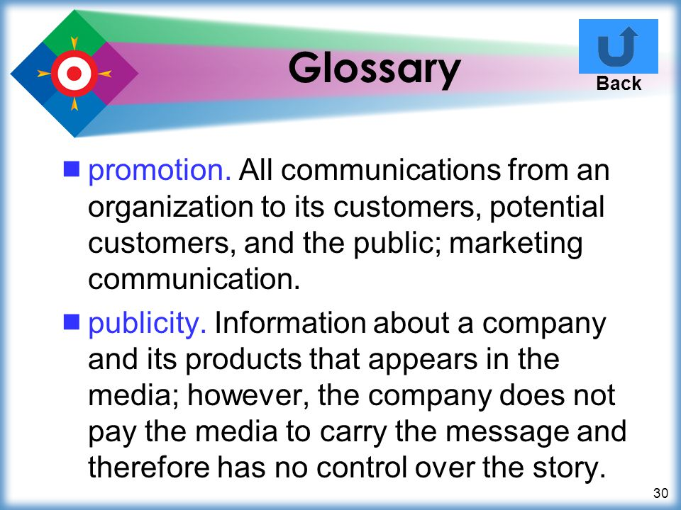 Glossary Back. promotion. All communications from an organization to its customers, potential customers, and the public; marketing communication.
