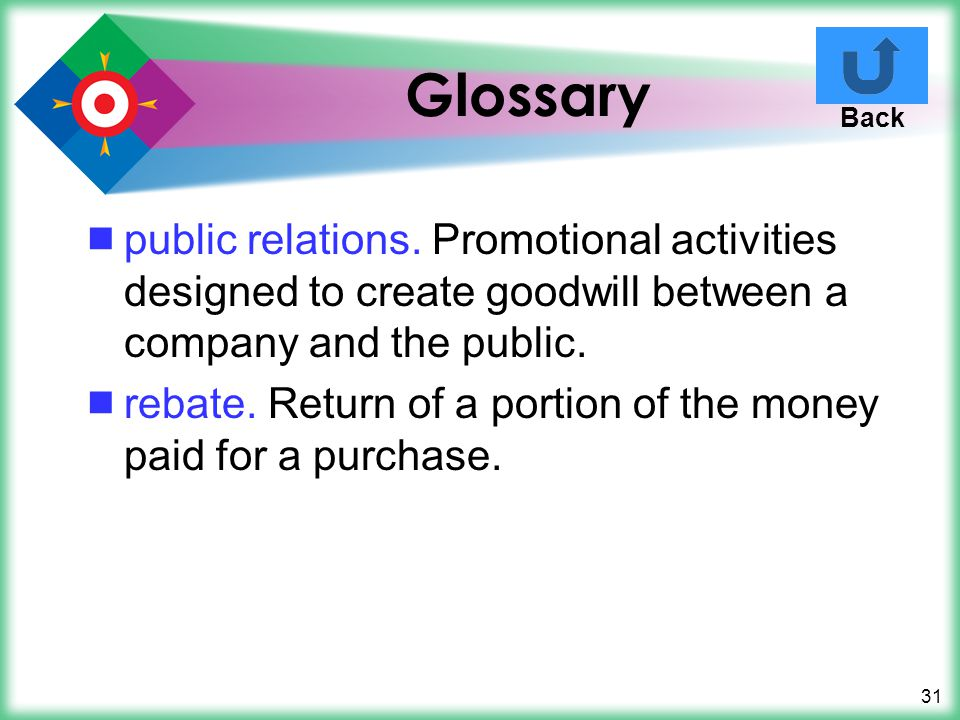 Glossary Back. public relations. Promotional activities designed to create goodwill between a company and the public.