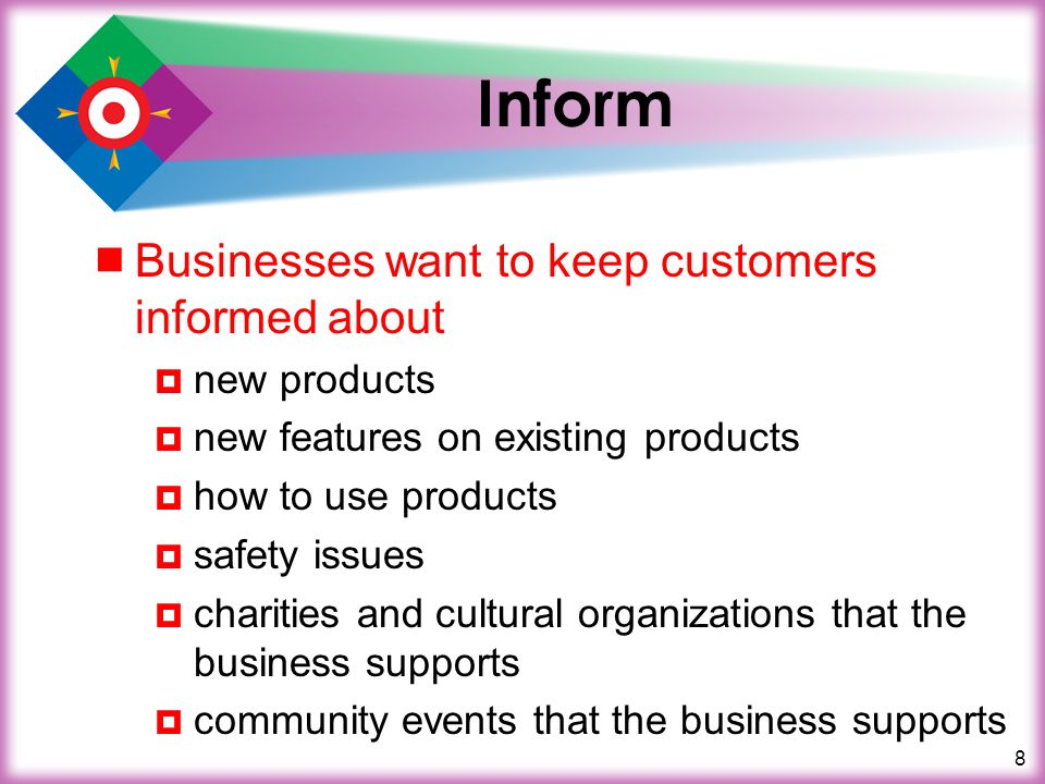 Inform Businesses want to keep customers informed about new products