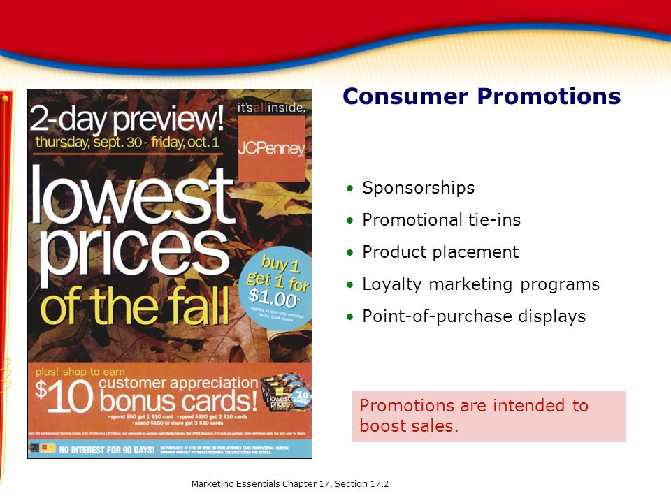 Consumer Promotions Sponsorships Promotional tie-ins Product placement