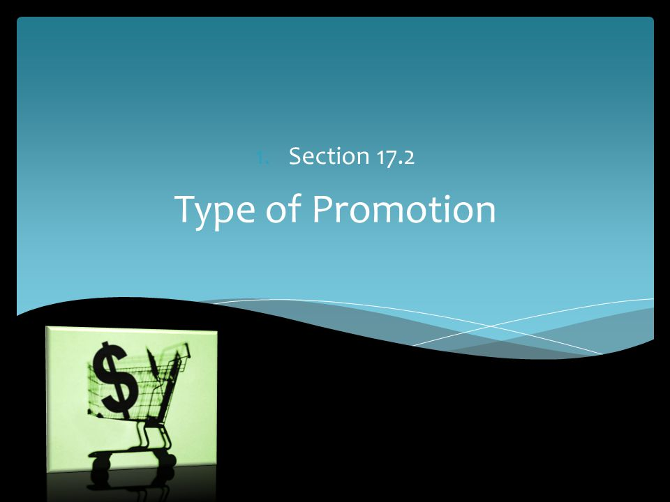 Section 17.2 Type of Promotion