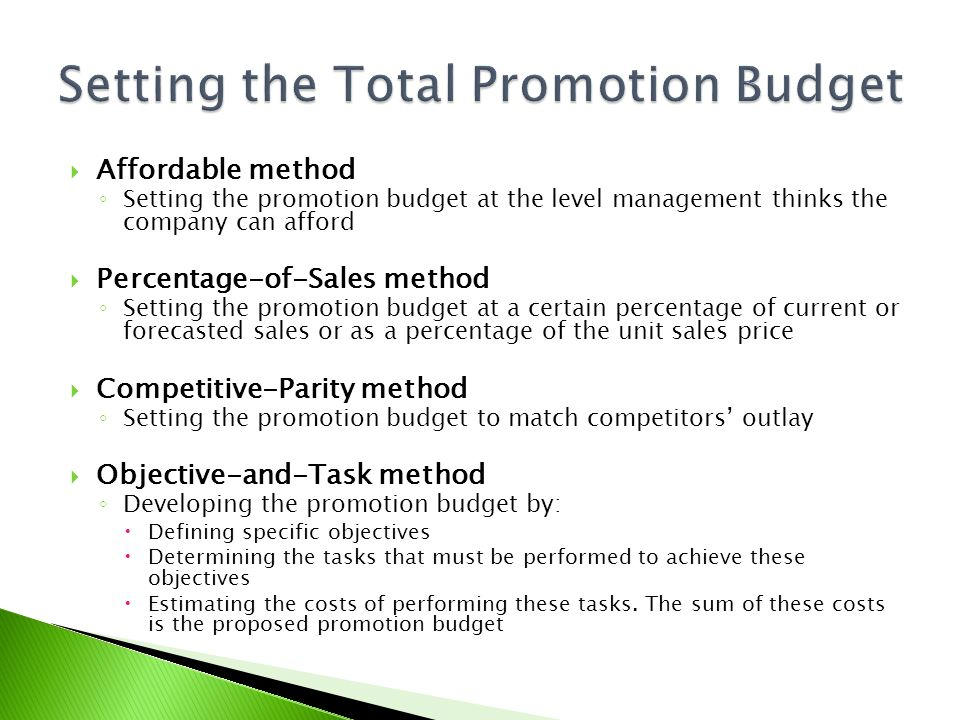 Setting the Total Promotion Budget